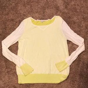 Halogen yellow and white sheer top size XL